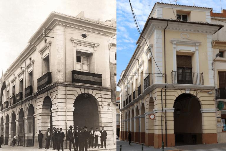 Ayuntamiento Viejo de Almansa, antes y ahora tras los cambios del callejero en Almansa