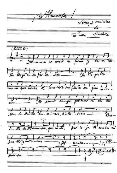 partitura pasodoble Almansa