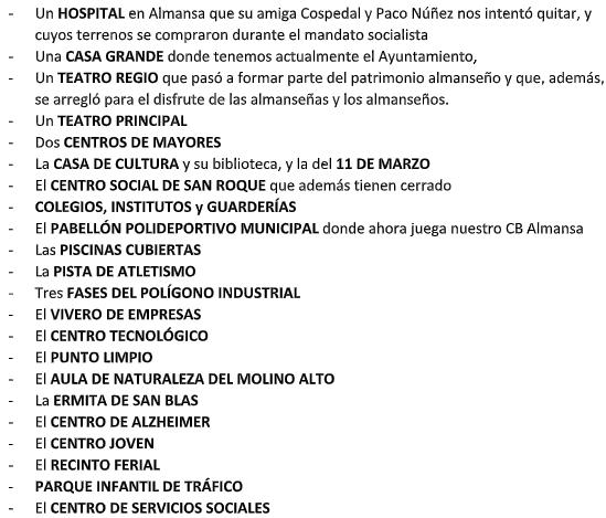 Extracto de la nota de prensa del PSOE