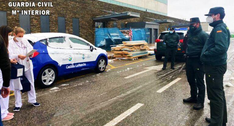 La Guardia Civil en el Hospital de Almansa: temporal Filomena y coronavirus