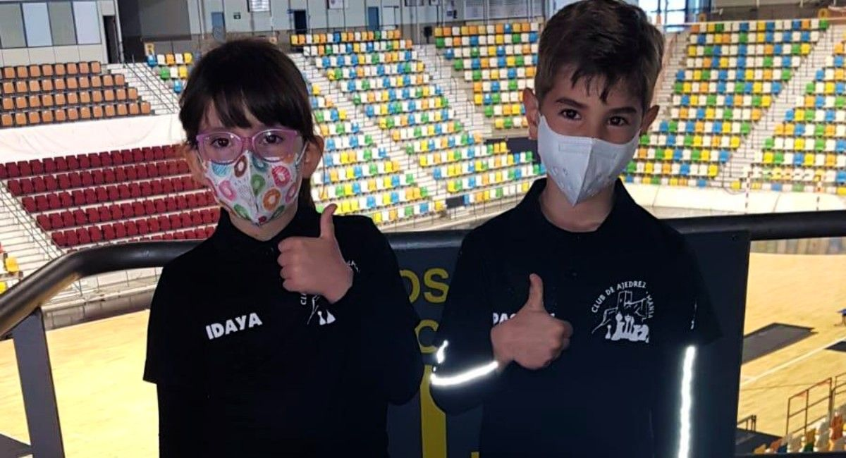 Idaya Monje y Pascual Campos, en la final regional de Ajedrez