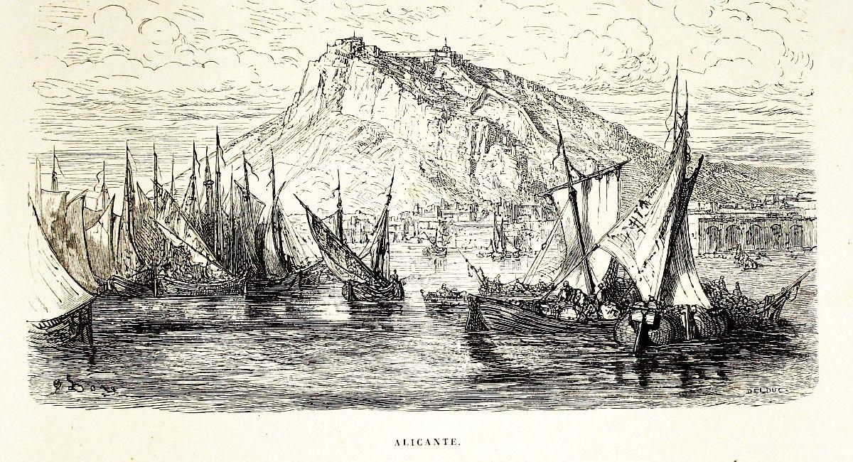 Alicante y Almansa   Vista de la bahía de Alicante en 1862, grabado de Gustavo Doré